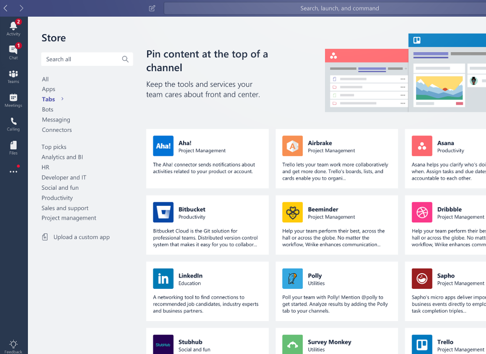Microsoft Teams Intergrations Screen Shot | Modern Collaboration With Microsoft Teams